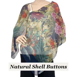 wholesale Silky Button Shawl (Two Button Chiffon) Natural Shell Buttons #704 Navy (Floral Border) -