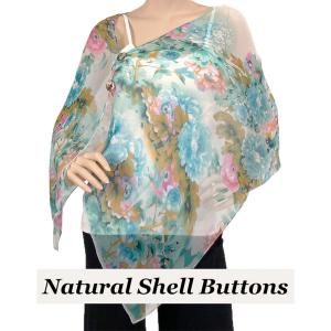 wholesale Silky Button Shawl (Two Button Chiffon) Natural Shell Buttons #703 Teal (Flower) -