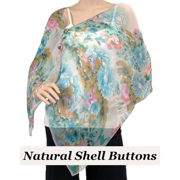 Silky Button Shawl (Two Button Chiffon) Natural Shell Buttons #703 Teal (Flower) -