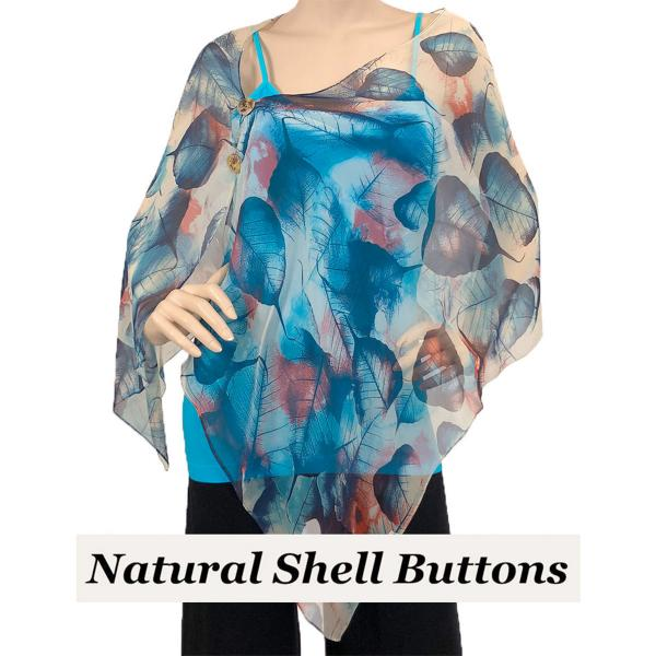 Silky Button Shawl (Two Button Chiffon) Natural Shell Buttons #129 Blue (Leaves) -