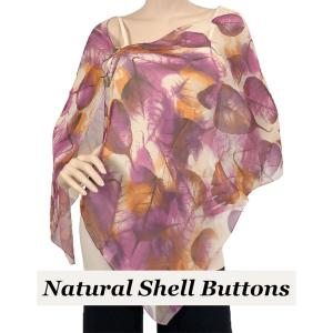 wholesale Silky Button Shawl (Two Button Chiffon) Natural Shell Buttons #129 Purple (Leaves) -