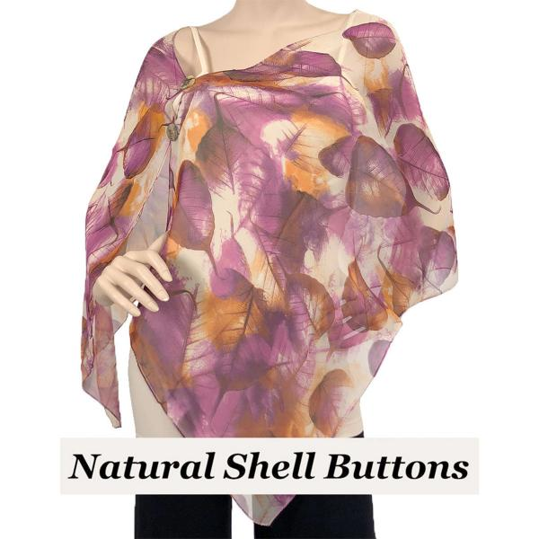 Silky Button Shawl (Two Button Chiffon) Natural Shell Buttons #129 Purple (Leaves) -