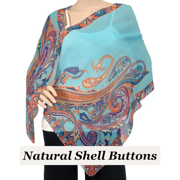 Silky Button Shawl (Two Button Chiffon) Natural Shell Buttons #184 Sky Blue (Paisley Serpentine) -