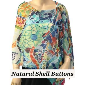 wholesale Silky Button Shawl (Two Button Chiffon) Natural Shell Buttons #714 White (Stained Glass) -