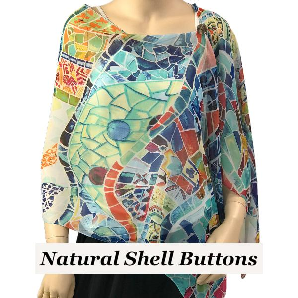 Silky Button Shawl (Two Button Chiffon) Natural Shell Buttons #714 White (Stained Glass) -