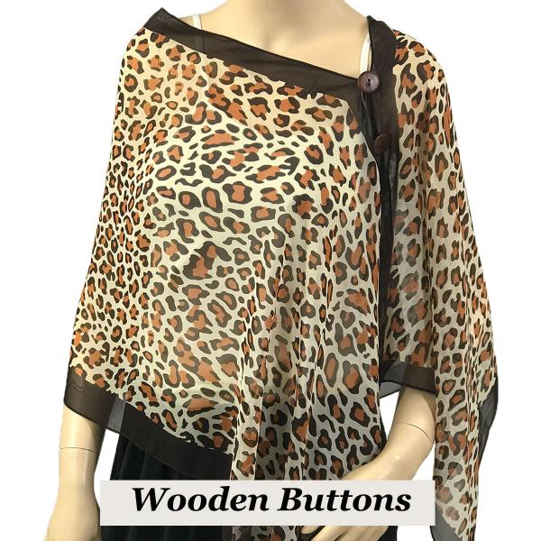 Silky Button Shawl (Two Button Chiffon) Brown Wood Buttons #104 Brown (Cheetah) -