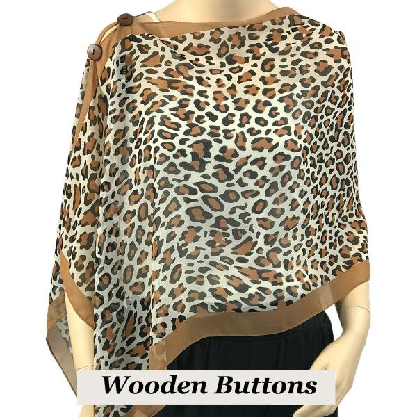 Silky Button Shawl (Two Button Chiffon) Brown Wood Buttons #104 Camel (Cheetah) -