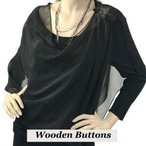 wholesale Silky Button Shawl (Two Button Chiffon) Black Wood Buttons Solid Black -