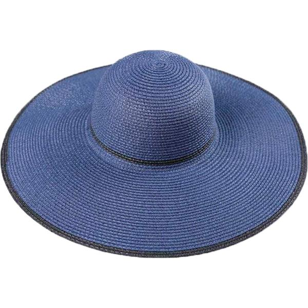 Summer Hats 187 Straw Floppy Style Solids - Navy - One Size