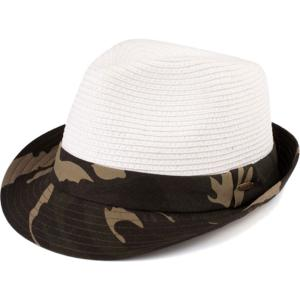 Summer Hats 105 Fedora Army Print - White -