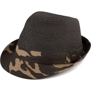 wholesale Summer Hats 105 Fedora Army Print - Black -