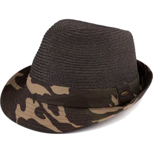 Summer Hats 105 Fedora Army Print - Black -