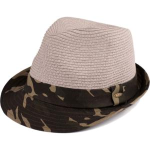 wholesale Summer Hats 105 Fedora Army Print - Grey -