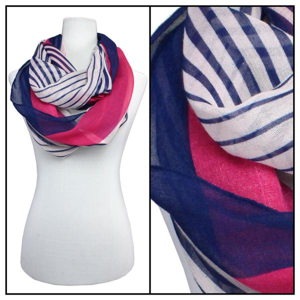 wholesale Cotton Feel and Jersey Knit Summer Infinities Multi Stripes 3328 - Fuchsia -