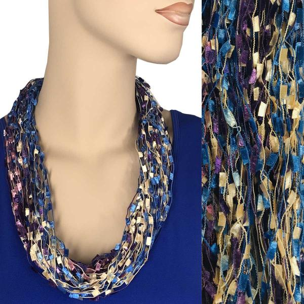 wholesale Confetti Thread Necklace with Magnetic Clasp Purple-Blue-Peach MB -