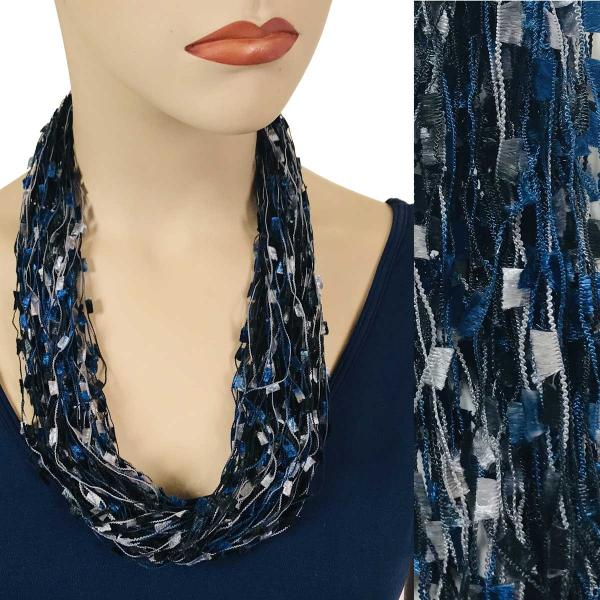 wholesale Confetti Thread Necklace with Magnetic Clasp Navy-Grey -