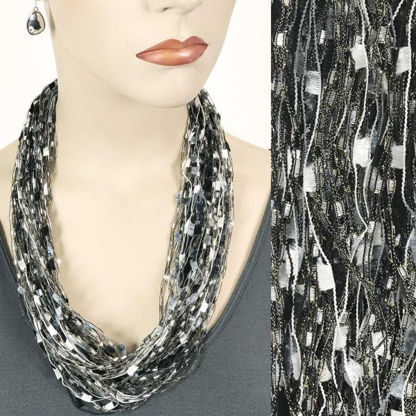 wholesale Confetti Thread Necklace with Magnetic Clasp Black-Silver -