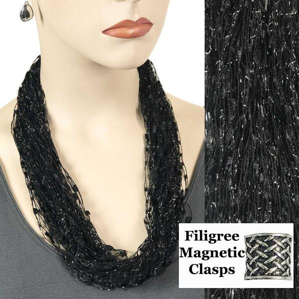 wholesale Confetti Thread Necklace with Magnetic Clasp Black w/ Sparkle w/ Filigree Magnet -