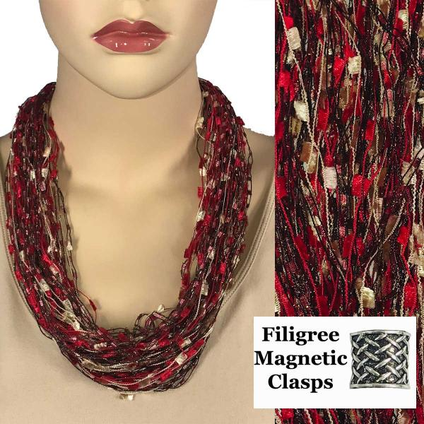 wholesale Confetti Thread Necklace with Magnetic Clasp Red-Champagne w/ Burgundy w/ Filigree Magnet MB -