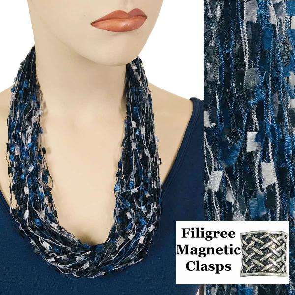 wholesale Confetti Thread Necklace with Magnetic Clasp Navy-Grey w/ Filigree Magnet -
