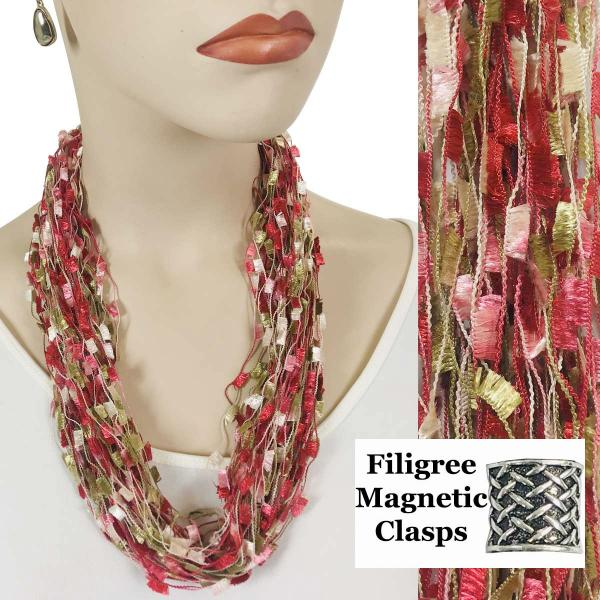 wholesale Confetti Thread Necklace with Magnetic Clasp Raspberry-Sage-Beige w/ Filigree Magnet -