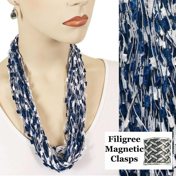 wholesale Confetti Thread Necklace with Magnetic Clasp Blue-White w/ Filigree Magnet -