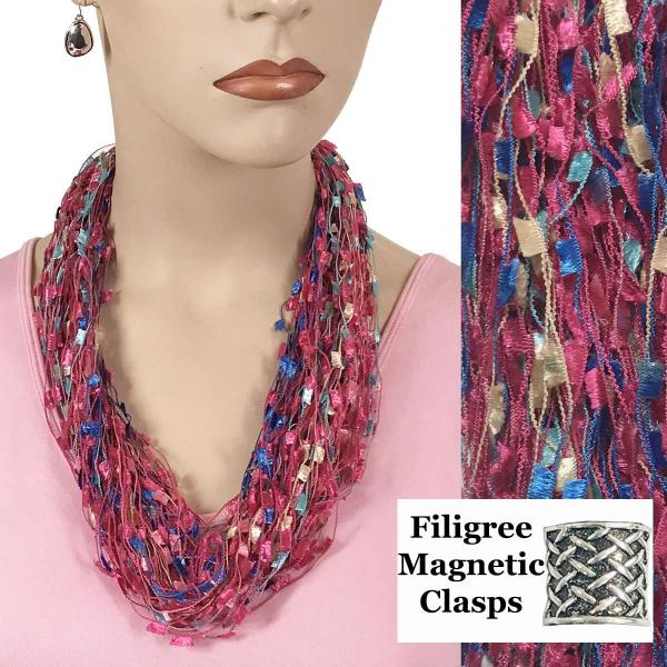 wholesale Confetti Thread Necklace with Magnetic Clasp Hot Pink-Multi w/ Filigree Magnet -