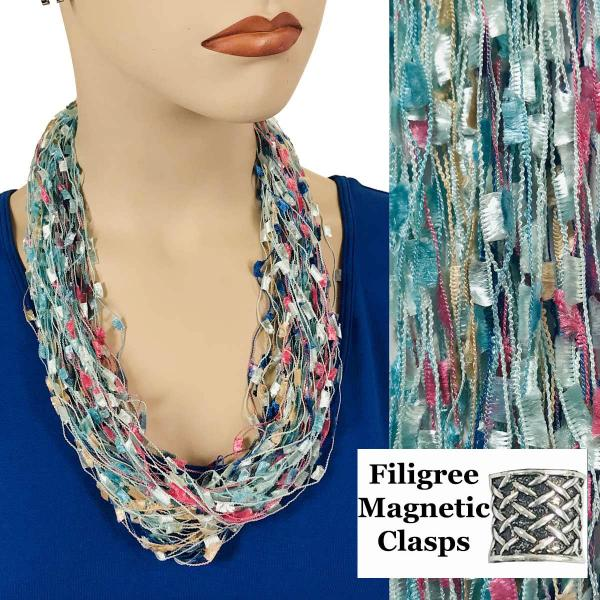 wholesale Confetti Thread Necklace with Magnetic Clasp Light Teal-Multi w/ Filigree Magnet -