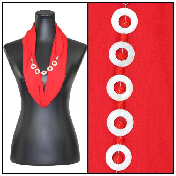 Jewelry Infinity Silky Dress Scarves 8011 - Solid Red Jewelry Infinity Silky Dress Scarves -