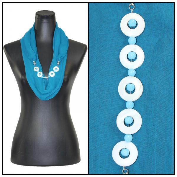 Jewelry Infinity Silky Dress Scarves 8011 - Solid Teal Jewelry Infinity Silky Dress Scarves -