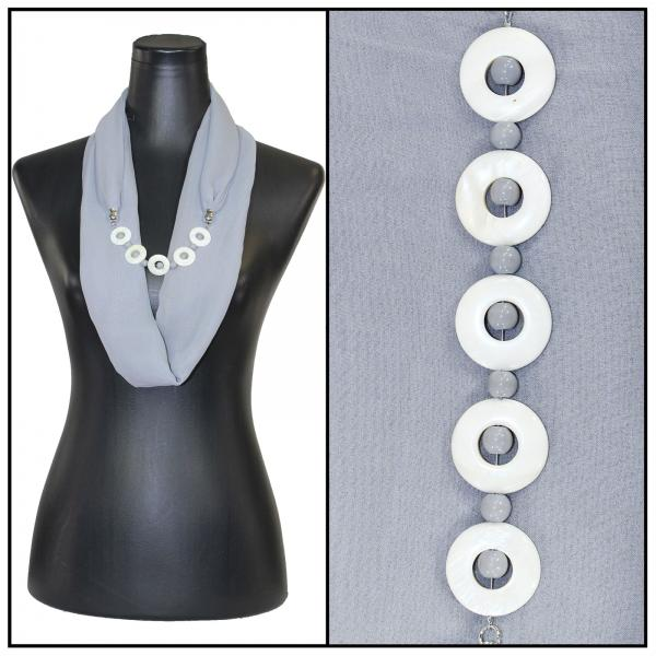 Jewelry Infinity Silky Dress Scarves 8011 - Solid Grey Jewelry Infinity Silky Dress Scarves -