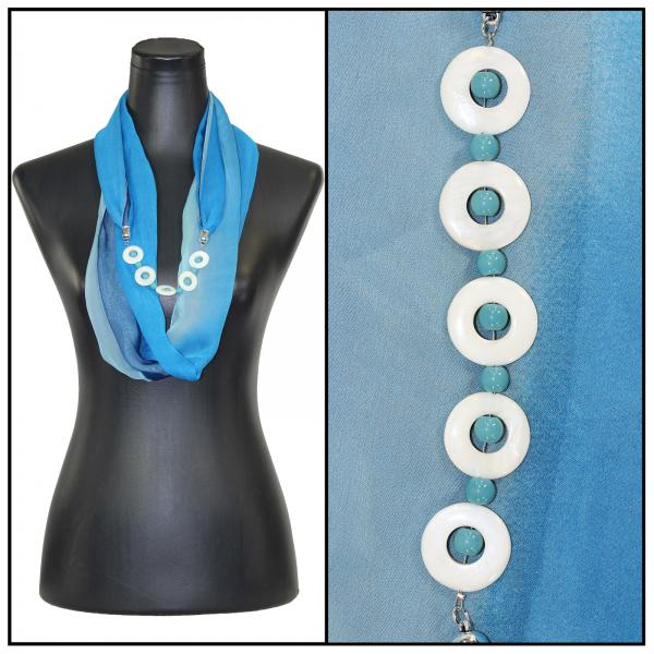 Jewelry Infinity Silky Dress Scarves 8011 - Tri-Color - Blues Jewelry Infinity Silky Dress Scarves -