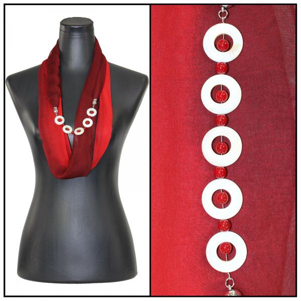Jewelry Infinity Silky Dress Scarves 8011 - Tri-Color - Black-Maroon-Red Jewelry Infinity Silky Dress Scarves -
