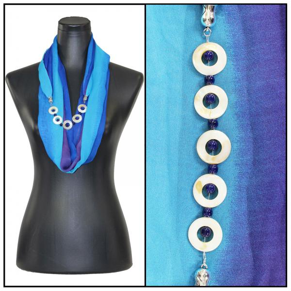 Jewelry Infinity Silky Dress Scarves 8011 - Tri-Color - Royal-Turquoise-Purple Jewelry Infinity Silky Dress Scarves -
