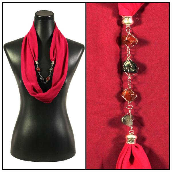 Jewelry Infinity Silky Dress Scarves 8074 - Solid Magenta Jewelry Infinity Silky Dress Scarves -