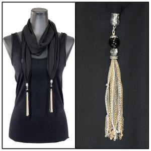 Silky Dress Scarves - Metal Tassel 8015 Solid Black -