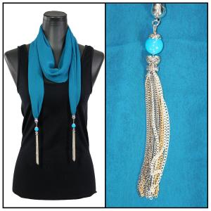 Silky Dress Scarves - Metal Tassel 8015 Solid Teal -