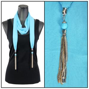 Silky Dress Scarves - Metal Tassel 8015 Solid Sky Blue -