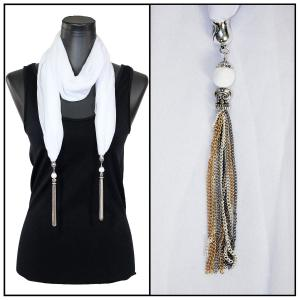 Silky Dress Scarves - Metal Tassel 8015 Solid White -