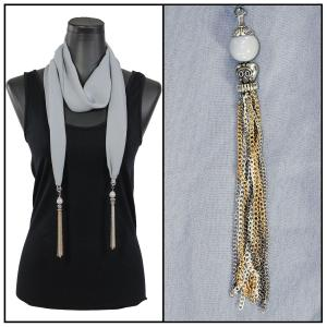 Silky Dress Scarves - Metal Tassel 8015 Solid Grey -