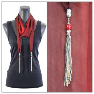 Silky Dress Scarves - Metal Tassel 8015 Tri-Color - Black-Maroon-Red -