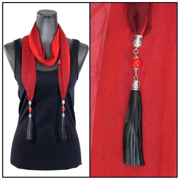 Silky Dress Scarves - Leather Tassel 9001 Tri-Color - Black-Maroon-Red -