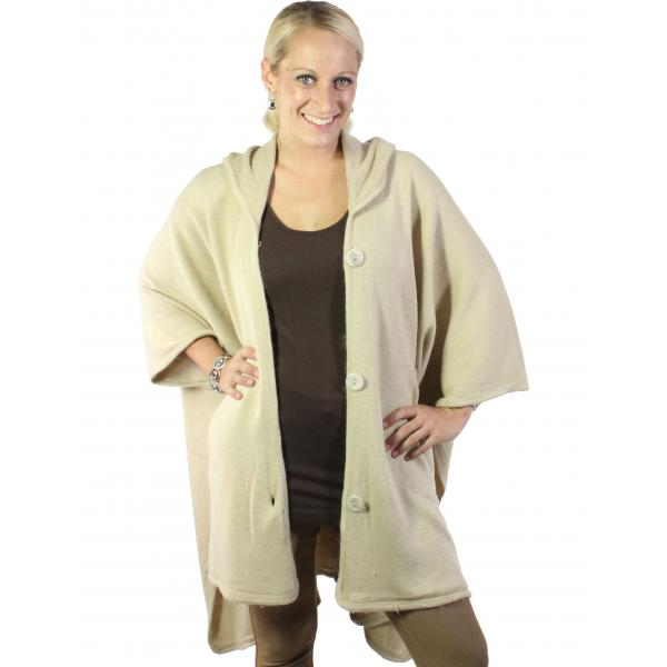 wholesale Capes - Button Closure Hoodie w/ Pocket 8708 Beige -
