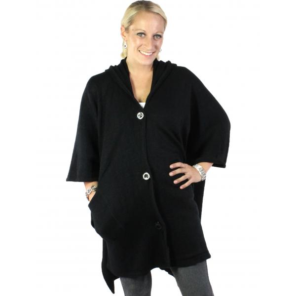 wholesale Capes - Button Closure Hoodie w/ Pocket 8708 Black -