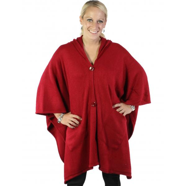 wholesale Capes - Button Closure Hoodie w/ Pocket 8708 Burgundy -