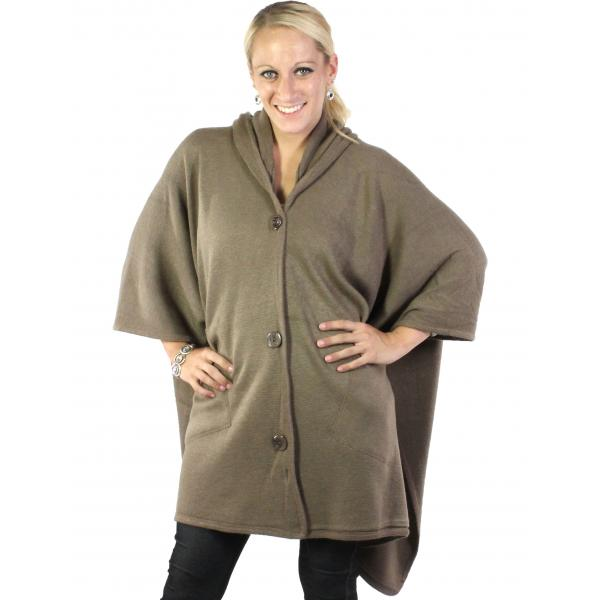wholesale Capes - Button Closure Hoodie w/ Pocket 8708 Taupe -