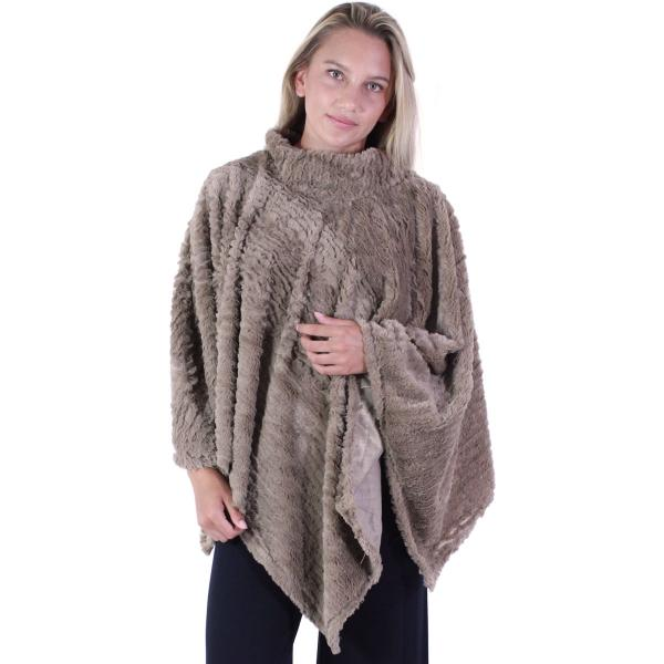 wholesale C Poncho - Rippled Faux Fur 8660 Taupe Rippled Faux Fur Poncho 8660 -