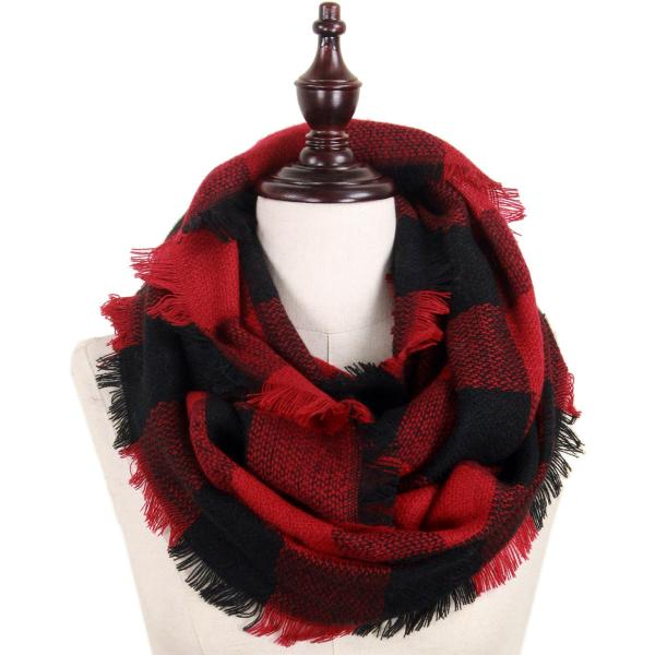 wholesale Infinity Scarves - Woven Plaid 8737 8435/8628 8628 Dark Red-Black w/ Self Fringe* -