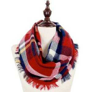 Metallic Print Shawls with Buttons 8737 Burgundy Multi Woven Plaid Infinity w/ Self Fringe -