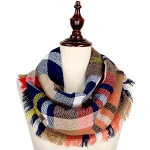 Metallic Print Shawls with Buttons 8737 Camel Multi Woven Plaid Infinity w/ Self Fringe -